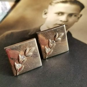 Vintage cuff links by Swank leaf and rhinestone